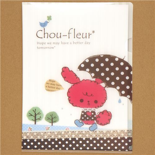 Chou-fleur rabbit with umbrella A4 plastic file folder