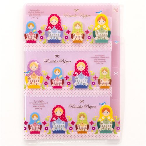 small pink matryoshka file folder 3-pockets