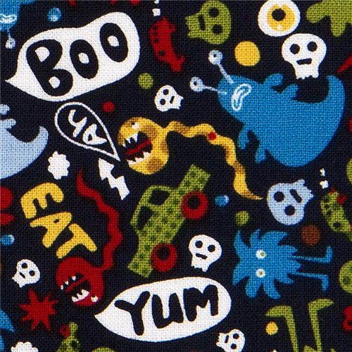 Michael Miller fabric Don't eat me skulls monsters