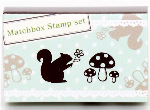 Matchbox stamp set squirrel mushroom
