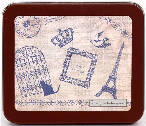 beautiful stamp set Eiffel Tower & crown