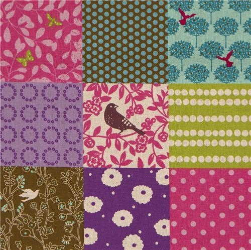 echino canvas fabric story birds squares pink Japan