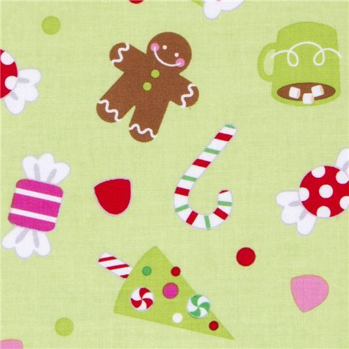 green Riley Blake Christmas fabric cute Xmas