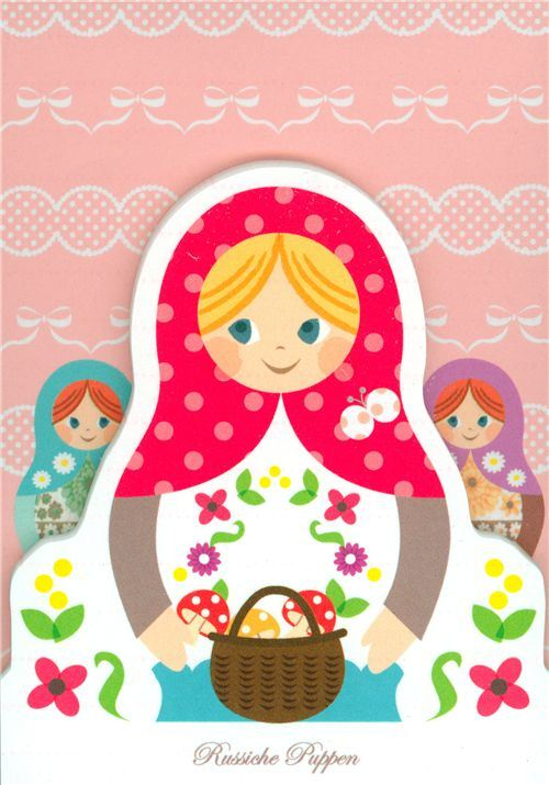 matryoshka doll die-cut memo pad from Japan