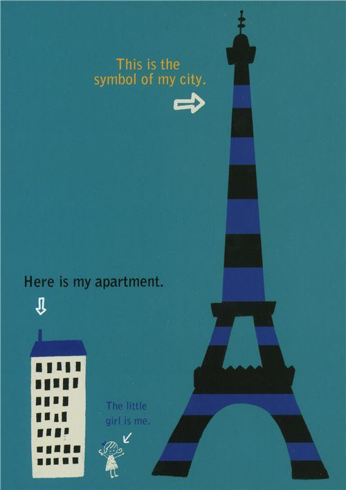 cute Shinzi Katoh postcard Eiffel Tower with house