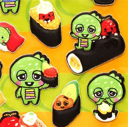 cute Gachapin sponge sticker with sushi kawaii