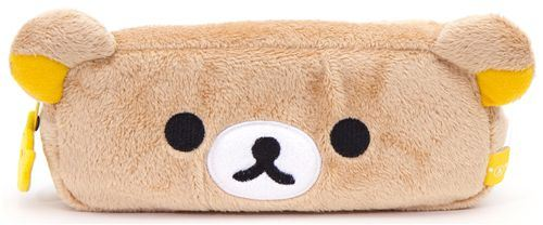fluffy brown pencil case with Rilakkuma bear San-X