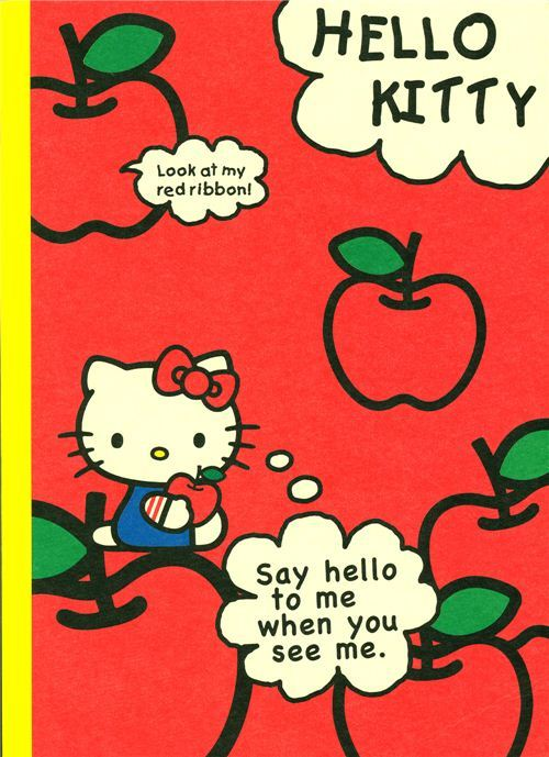 red Hello Kitty Notebook school book apple lined