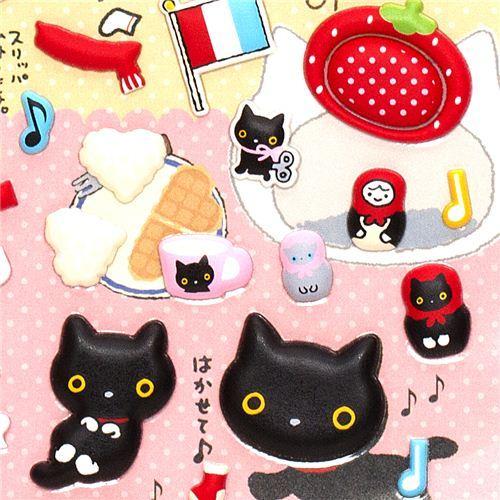cute sponge Stickers with Kutusita Nyanko cats