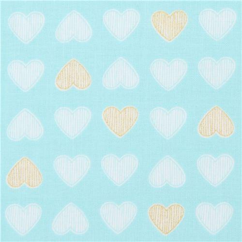 turquoise Michael Miller fabric metallic Heart of Gold