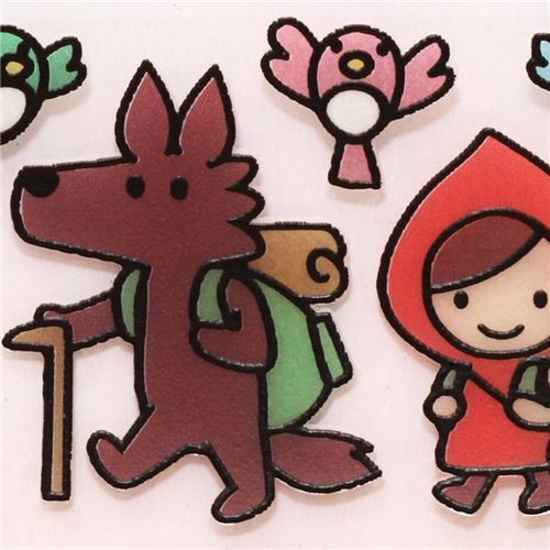 Red Riding Hood mountain glass window sticker Otogicco