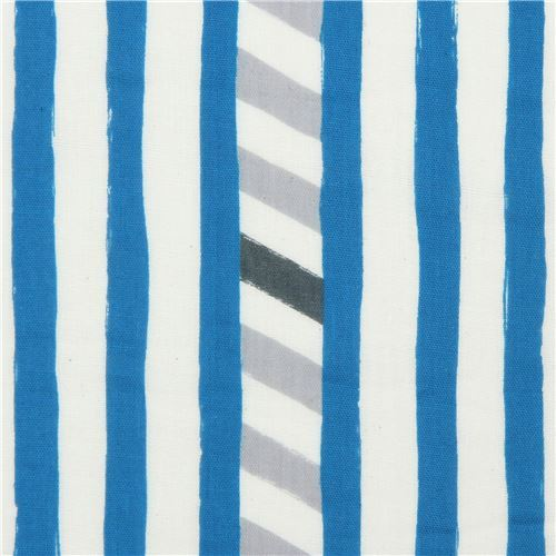 echino double gauze fabric with blue light cream stripe Line