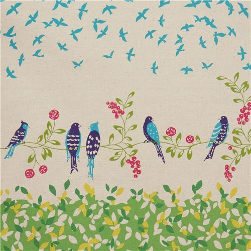 natural color lime echino canvas fabric with bird leaf Standard