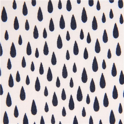 white Robert Kaufman navy blue raindrop fabric