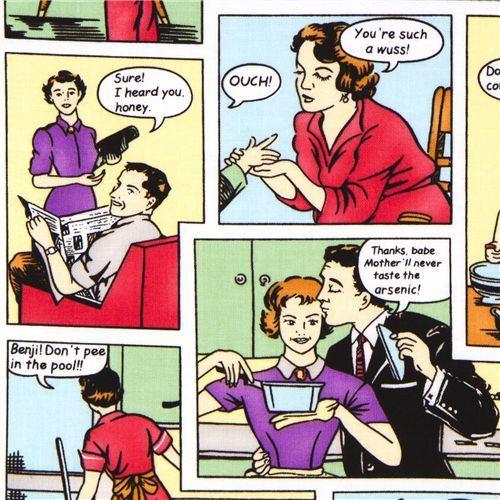 colourful Michael Miller designer fabric retro comic