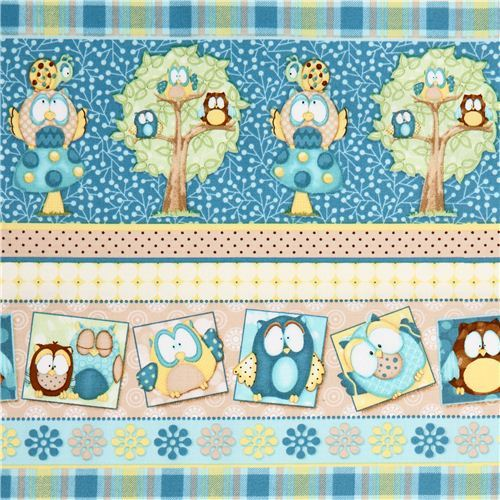 turquoise owl forest animal fabric by Henry Glass