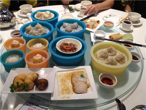 Our lovely birthday Dim Sum served in modern silicone steaming baskets