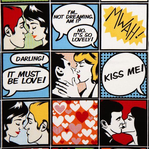 Michael Miller retro comic fabric Kiss me Love