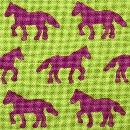green canvas animal fabric horse Kokka Japan