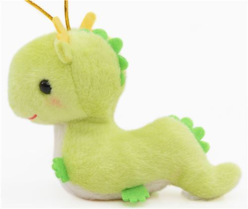 small green dragon with gold color strap Chinese Zodiac Puchimaru plush charm