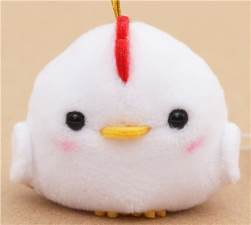 small white rooster with gold color strap Chinese Zodiac Puchimaru plush charm