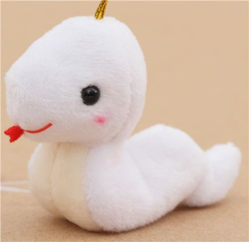 small white snake with gold color strap Chinese Zodiac Puchimaru plush charm