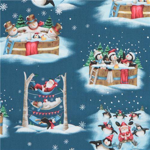 dark blue fabric with santa penguin bird animal Christmas Quilting Treasures