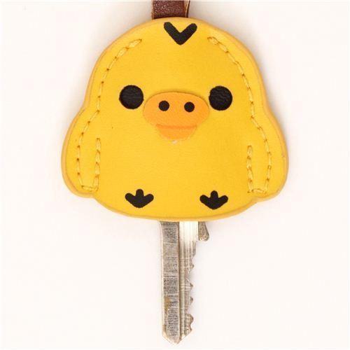 Rilakkuma yellow chick artificial leather key cover charm