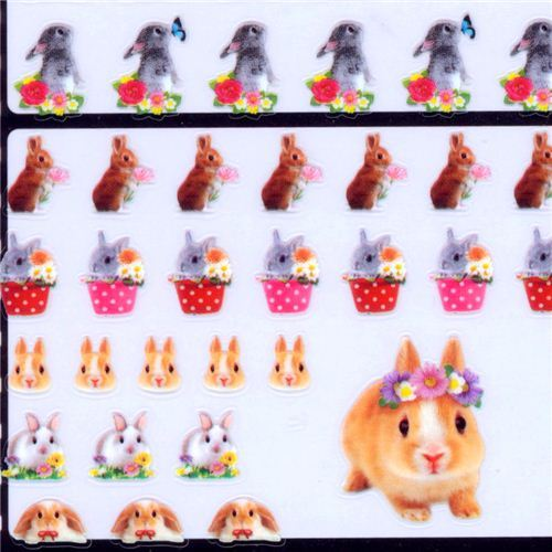 kawaii rabbit bunny flower stickers by Q-Lia