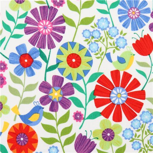 white flower meadow fabric by Timeless Treasures USA