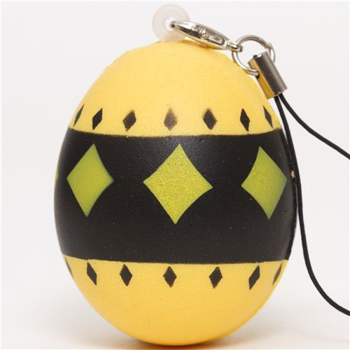 yellow egg with diamonds squishy cellphone charm