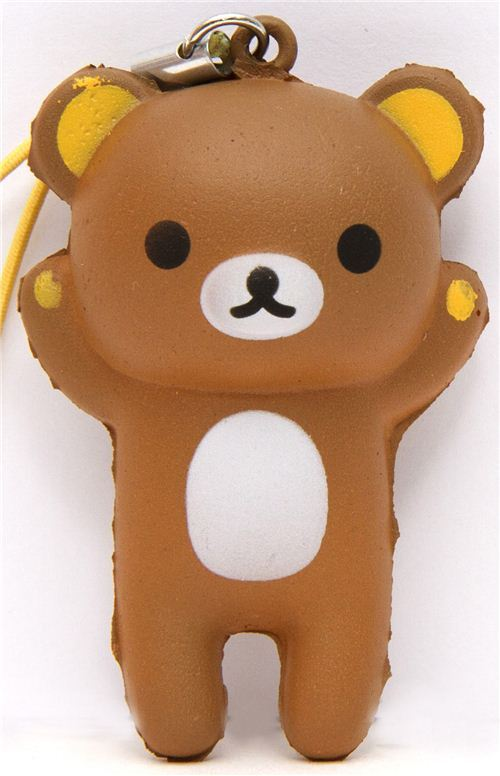 brown Rilakkuma bear squishy cellphone charm kawaii