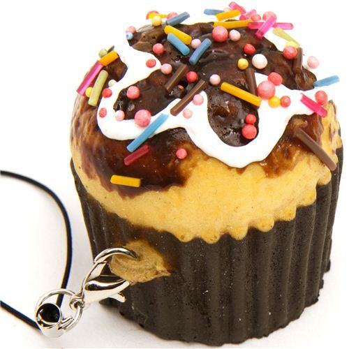 chocolate muffin squishy cellphone charm sprinkles