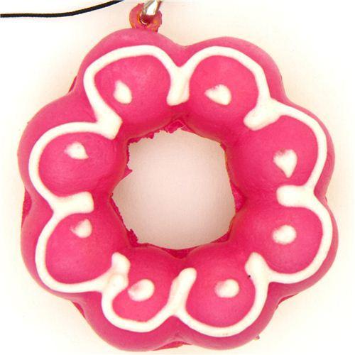 pink flower donut squishy charm kawaii