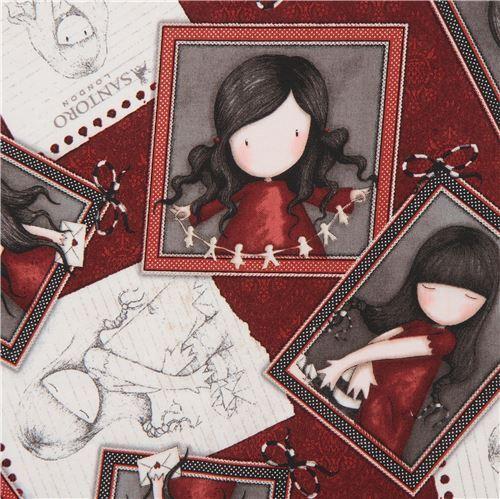 dark red fabric cute children picture frame Gorjuss Quilting Treasures
