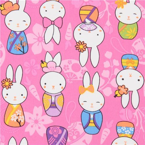 bunny rabbit Trans-Pacific Textiles pink fabric