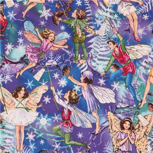 colorful cute fairy snowflake silver embellishment Michael Miller fabric