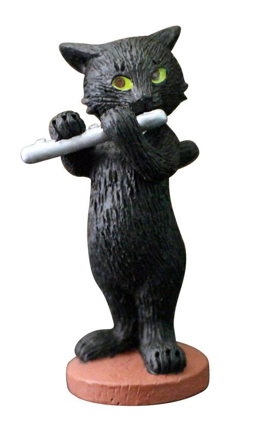 black cat with flute music instrument figurine from Japan
