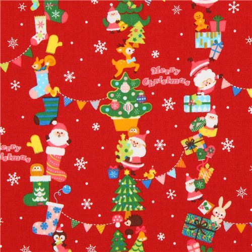 red festive Christmas fabric with Santa Claus