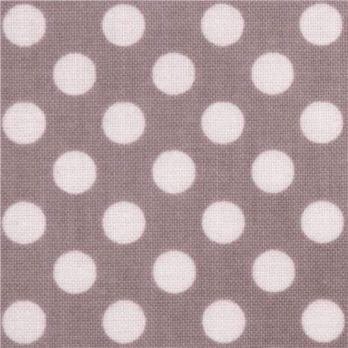 grey Riley Blake polka dot laminate fabric white dots