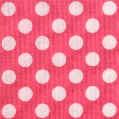 hot pink Riley Blake polka dot laminate fabric white dots