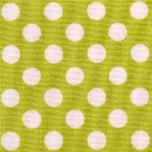 lime green Riley Blake polka dot laminate fabric white dots