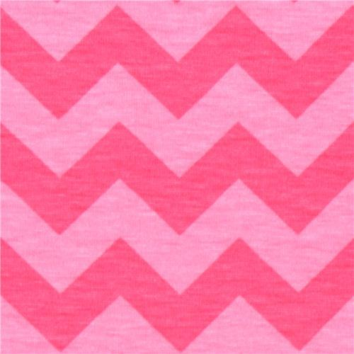 pink Riley Blake knit fabric with hot pink Chevron pattern