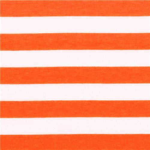 white Riley Blake knit fabric with orange thin stripes