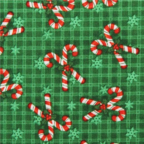 green candy cane Christmas fabric Believe