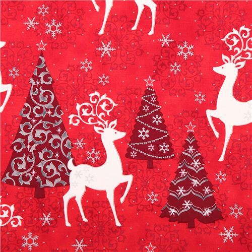 red Christmas tree deer Christmas fabric Quilting Treasures
