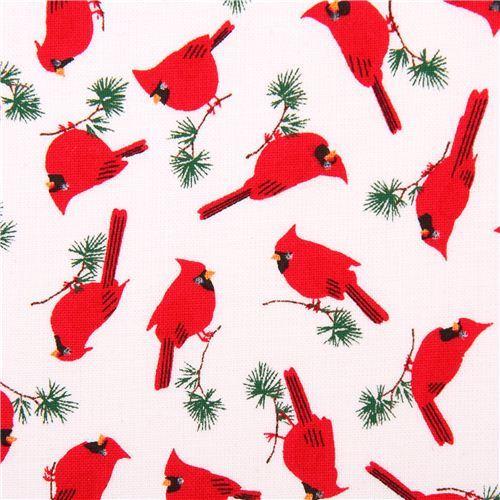 white mini cardinal bird animal fabric Timeless Treasures