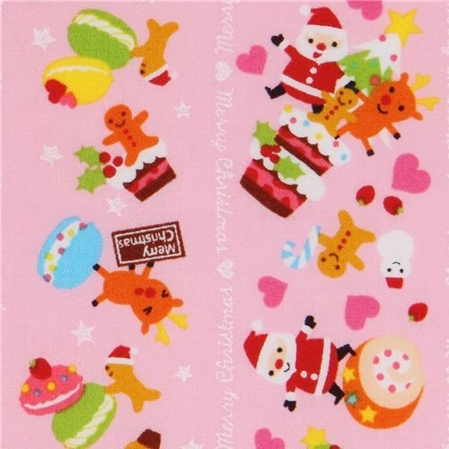 pink kawaii Christmas fabric Santa Claus macaroons