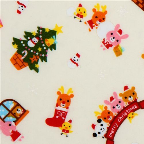 white kawaii Christmas fabric panda Santa Claus