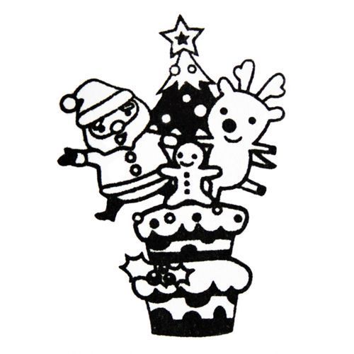 cute Christmas stamp Santa Claus Christmas tree
